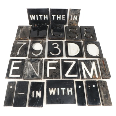 Metal Marquee Sign Letters and Numbers, Mid-20th Century