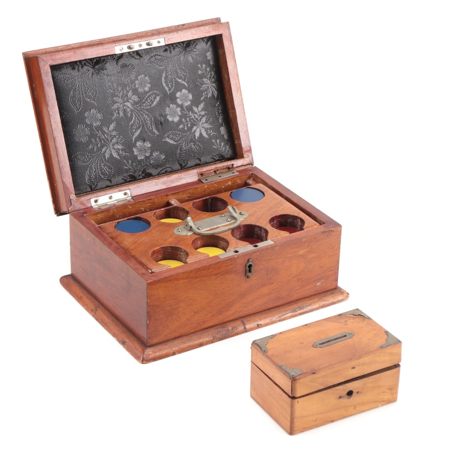 Boxed Set of Gaming Counters and a Money Box