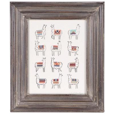 Lithograph of Peruvian Llamas