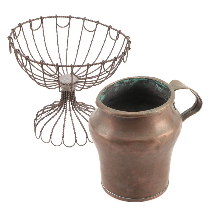Copper Pitcher with Hand-Rolled Rim and Wire Floral Basket