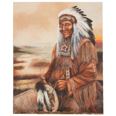 """Oil Painting Of Native American Chief After Ruane Manning """"Untold Wisdom"""""""