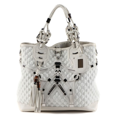 Gucci Techno Horsebit Large Tote in White GG Chemical Fiber with Leather Trim