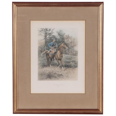"""Hand-Colored Rotogravure after Edouard Detaille """"Chasseurs a Cheval"""""""