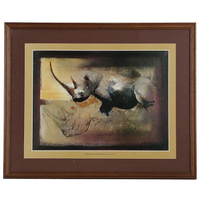 "Keith Joubert Offset Lithograph ""The Black Rhinoceros. Diceros bicornis."""