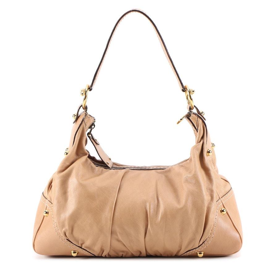Gucci Light Tan Leather Jockey Medium Hobo Bag