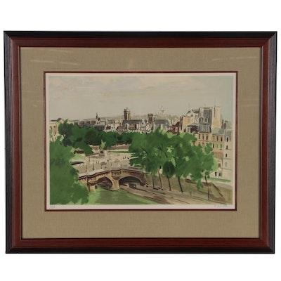 Constant Le Breton Color Lithograph of French Cityscape