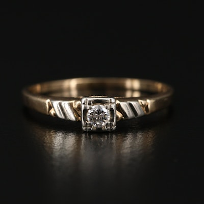 Vintage Style 14K Yellow Gold Diamond Ring with 18K Gold Accent
