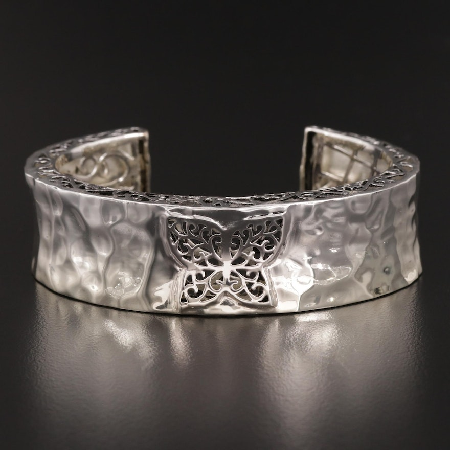 Sterling Silver Filigree Butterfly Cuff Bracelet Featuring Hammered Design