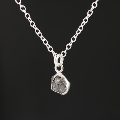 Sterling Silver Rough Diamond Pendant Necklace