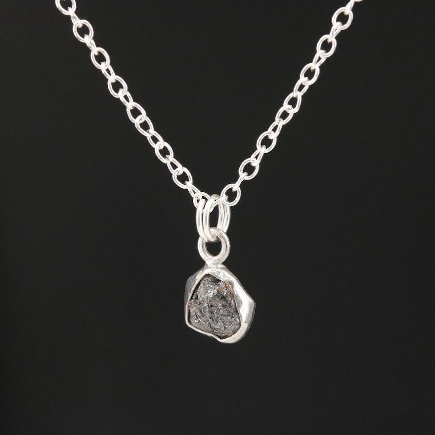 Sterling Silver Rough Diamond Pendant Necklace