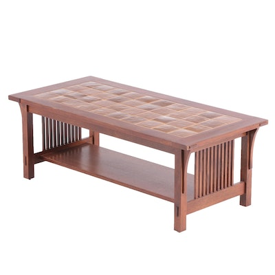 Arts & Crafts Style Stickley Ceramic Top Oak Coffee Table, Late 20th Century
