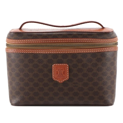 Céline Macadam Coated Canvas and Cognac Leather Trimmed Cosmetic Bag