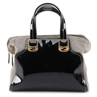 Fendi Chameleon Two-Way Satchel in Black Patent Leather and Check Canvas