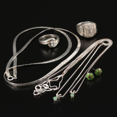 Sterling Silver Jewelry with Emerald and Cubic Zirconia