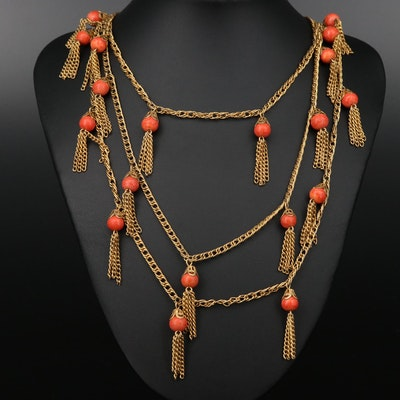 Art Deco Style Gold Tone Imitation Coral Necklace