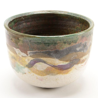 Handmade Stoneware Bowl with Metallic Glaze