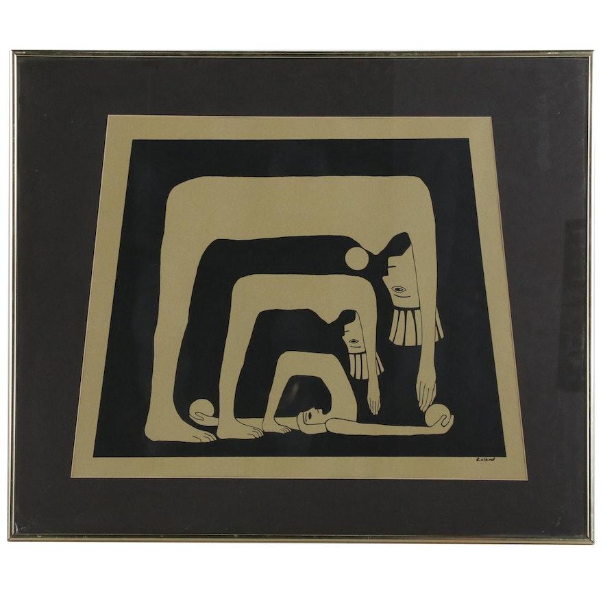Modern Figural Serigraph, Mid 20th Century