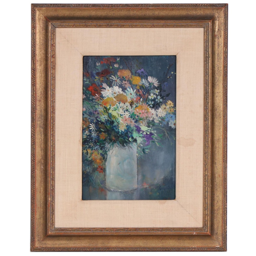1968 Still Life of Flowers Oil Painting