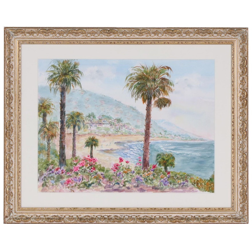 M. Otto Tropical Coast Landscape Watercolor Painting, Mid to Late 20th Century