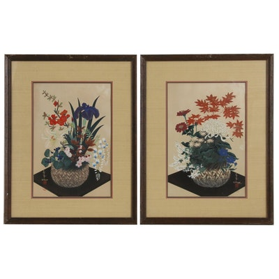 Bakufu Ohno Floral Still Life Embellished Woodblocks, Mid 20th Century