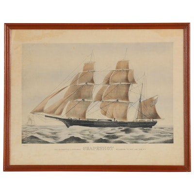 """Currier & Ives Lithograph """"The Celebrated Clipper Bark Grapeshot"""", 1850"""