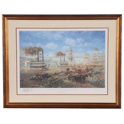 "Frank McElwain Offset Lithograph ""The Queen City Public Landing"""