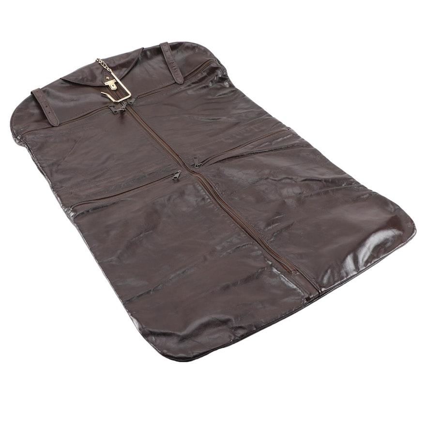Pegasus Leather Folding Garment Bag with Tucky Lock Closure, Vintage