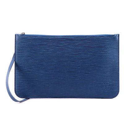 Louis Vuitton Wristlet Clutch in Blue Saphir Epi and Smooth Leather