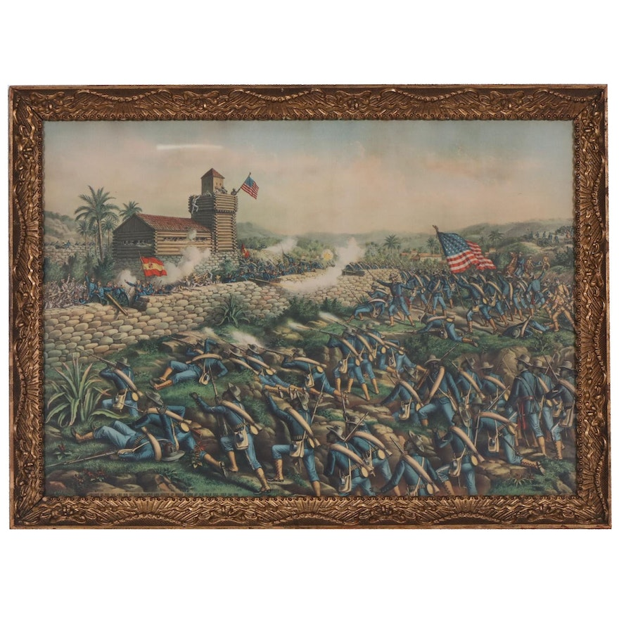 """Kurz & Allison Chromolithograph """"Charge of the 24th and 25th Colored Infantry"""""""