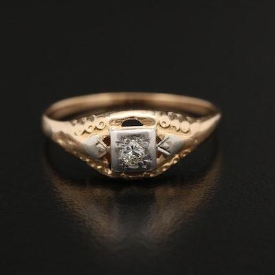 Circa 1940 10K Yellow Gold and Palladium Diamond Ring