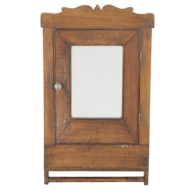 Mirrored Wall Cabinet with Towel Bar, Late 19th / Early 20th Century