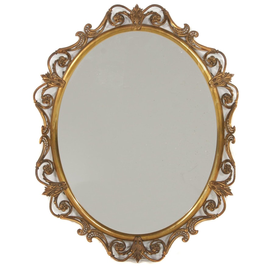 Openwork Brass Framed Wall Mirror, Early to Mid-20th Century