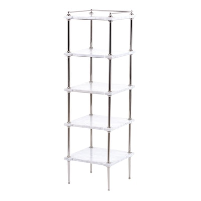 Williams-Sonoma Marble and Polished Nickel Five-Tier Étagère