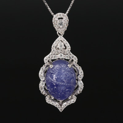 Sterling Silver Tanzanite and Sapphire Pendant Necklace
