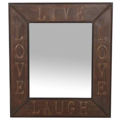 "Allen + Roth ""Live, Love, Laugh"" Distressed Faux Bronze Wall Mirror"
