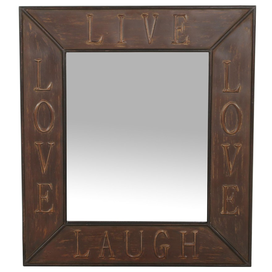 """Allen + Roth """"Live, Love, Laugh"""" Distressed Faux Bronze Wall Mirror"""