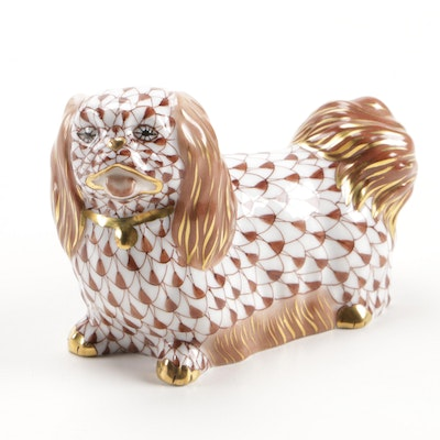 "Herend Chocolate Fishnet with Gold ""Pekingese"" Porcelain Figurine"