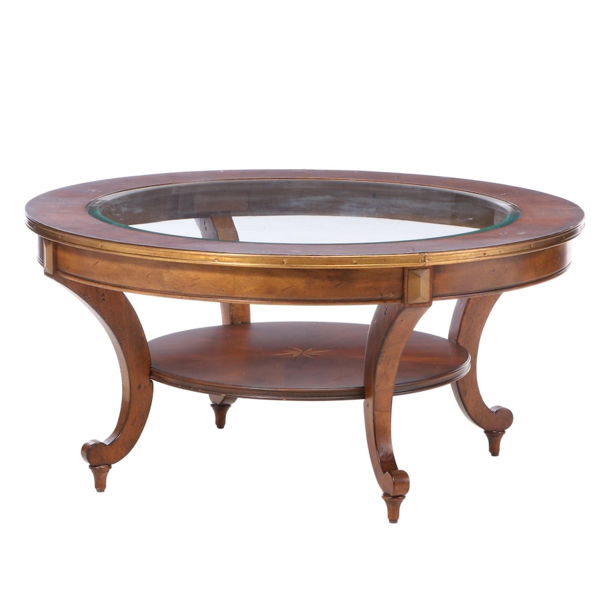 Contemporary Stained Hardwood, Marquetry, and Glass Top Coffee Table