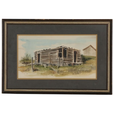 Charles Frizzell Watercolor Painting of Old Log Cabin