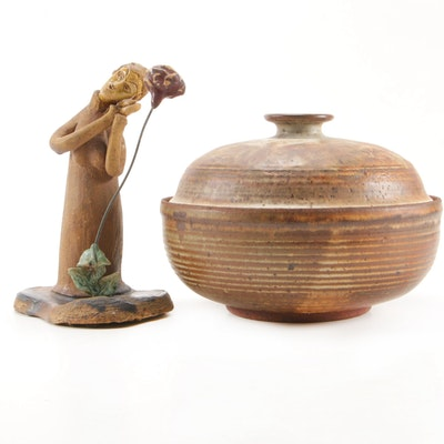 Stoneware Lidded Bowl and Hand Built Sculpture