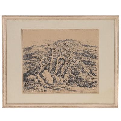 "Birgir Sandzen Landscape Lithograph ""At the Timberline"""