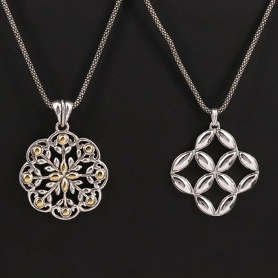 Sterling Silver Pendant Necklace Featuring Geometric Designs
