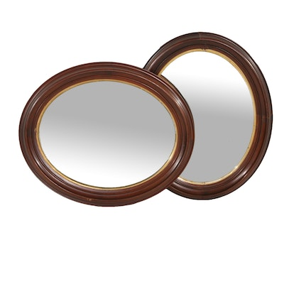 Mahogany Framed Oval Wall Mirrors