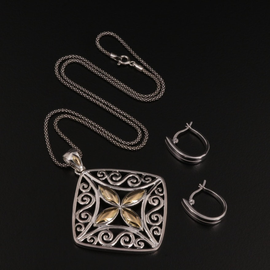 Sterling Silver Pendant Necklace and Huggie Earrings