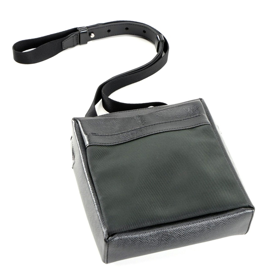 Louis Vuitton Sayan Crossbody Bag in Black Nylon and Taiga Leather