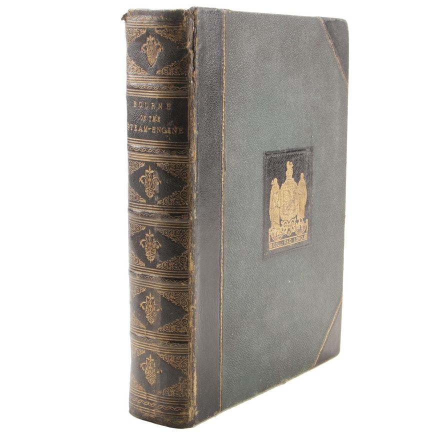 """1876 """"A Treatise on the Steam-Engine"""" by John Bourne, Leather Bound"""