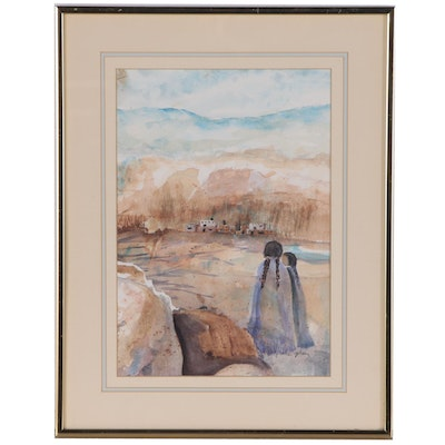 Betty Grace Gibson Watercolor Painting of Girls at Pueblo