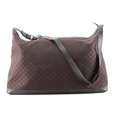 Gucci Soft Duffel Bag in Brown GG Canvas and Grained Leather