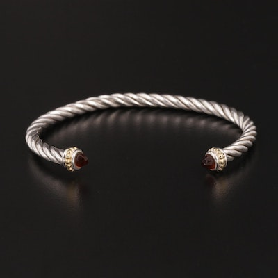 Sterling Silver Cable Cuff Bracelet With Black Glass End Accents