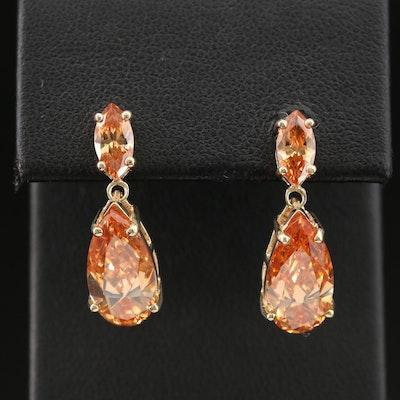 10K Yellow Gold Cubic Zirconia Drop Earrings